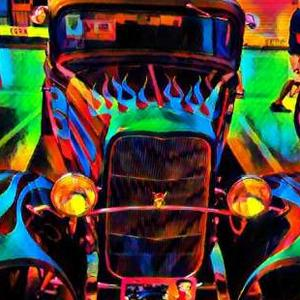 Hot Rods on Black Background Art Competition