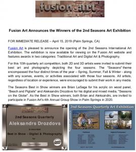 Fusion Art Announces Aleksandrs Drozdovs As Best In Show Winner Of The 2nd Seasons Quarterly International Art Exhibition